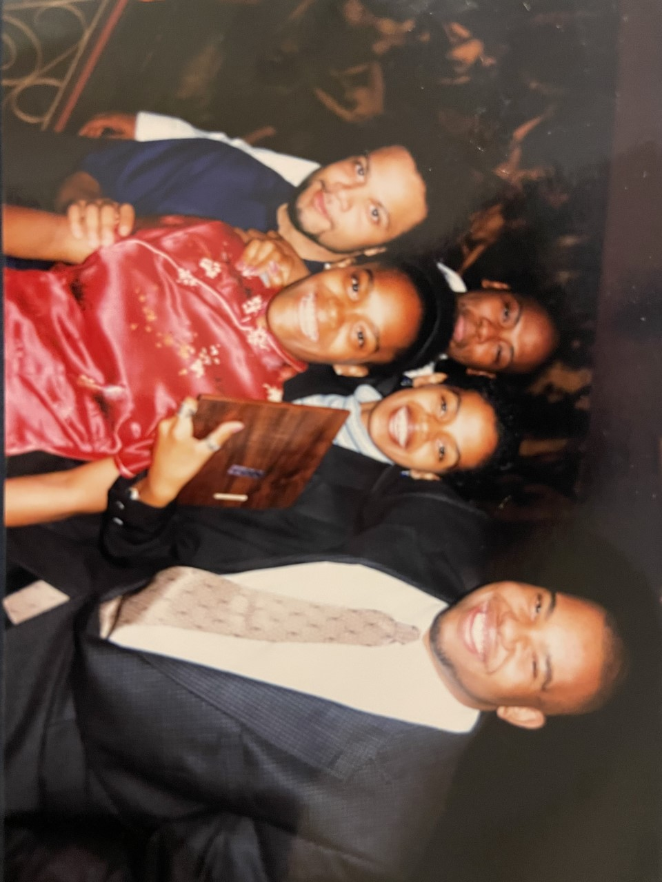 Reginold Royson, Bobbie White, unidentified woman, Aida Muluneh and Ta'Nehisi Coates at Howard University Hilltop Banquet c. 1997